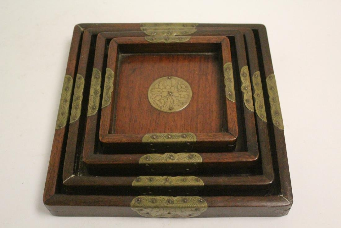 Set of 4 Chinese rosewood trays