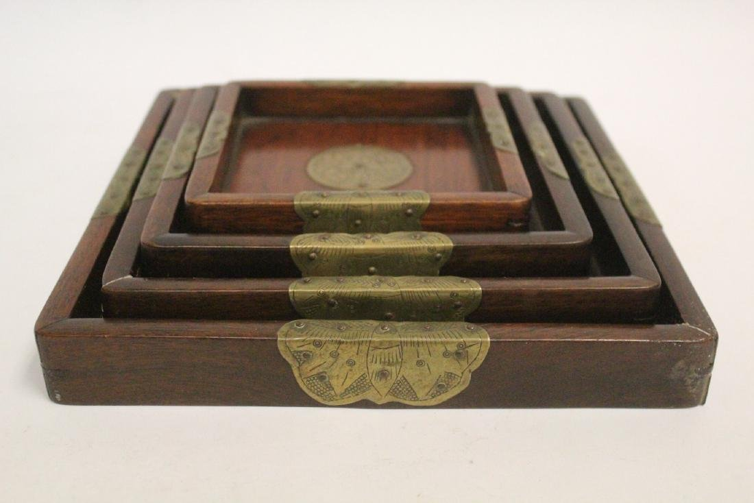 Set of 4 Chinese rosewood trays - 2