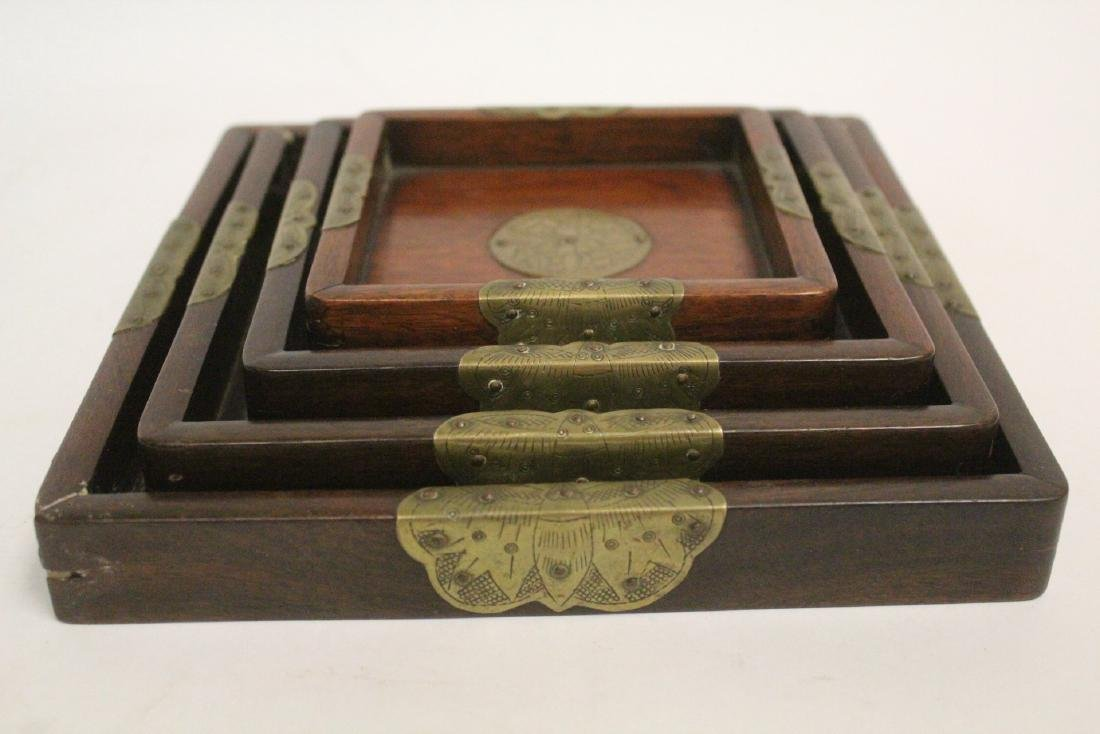 Set of 4 Chinese rosewood trays - 3