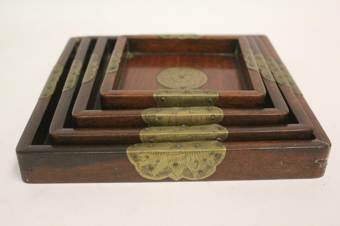 Set of 4 Chinese rosewood trays - 4