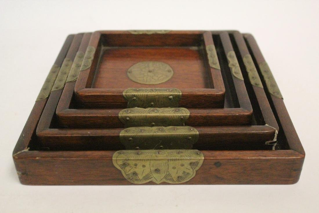 Set of 4 Chinese rosewood trays - 5
