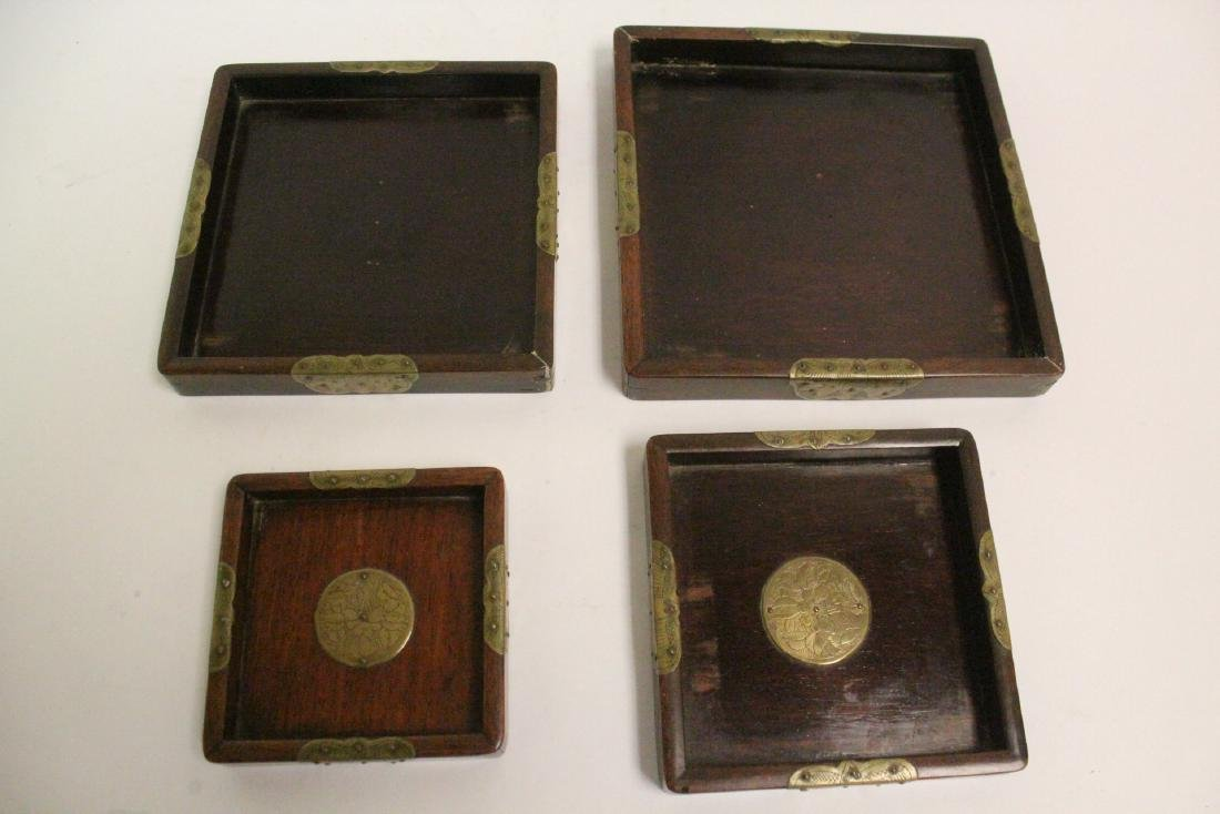 Set of 4 Chinese rosewood trays - 6