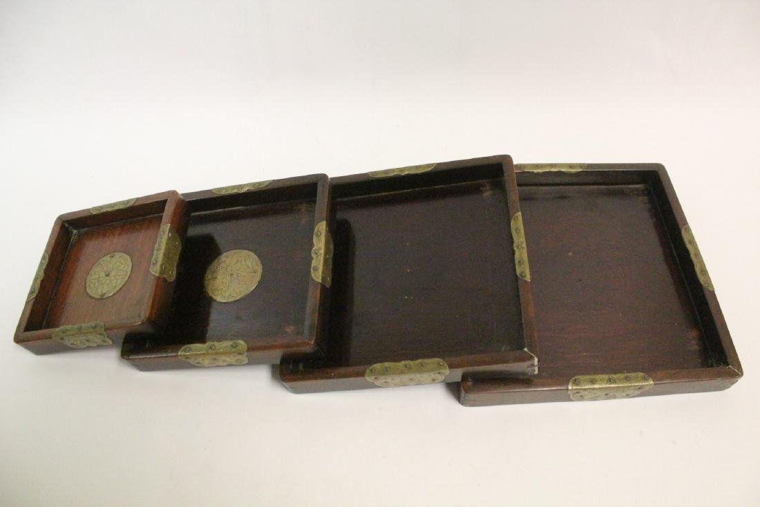 Set of 4 Chinese rosewood trays - 7