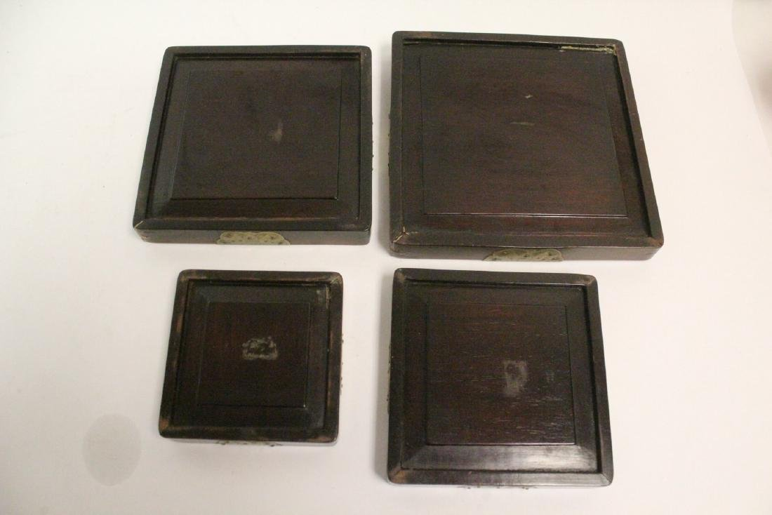 Set of 4 Chinese rosewood trays - 8