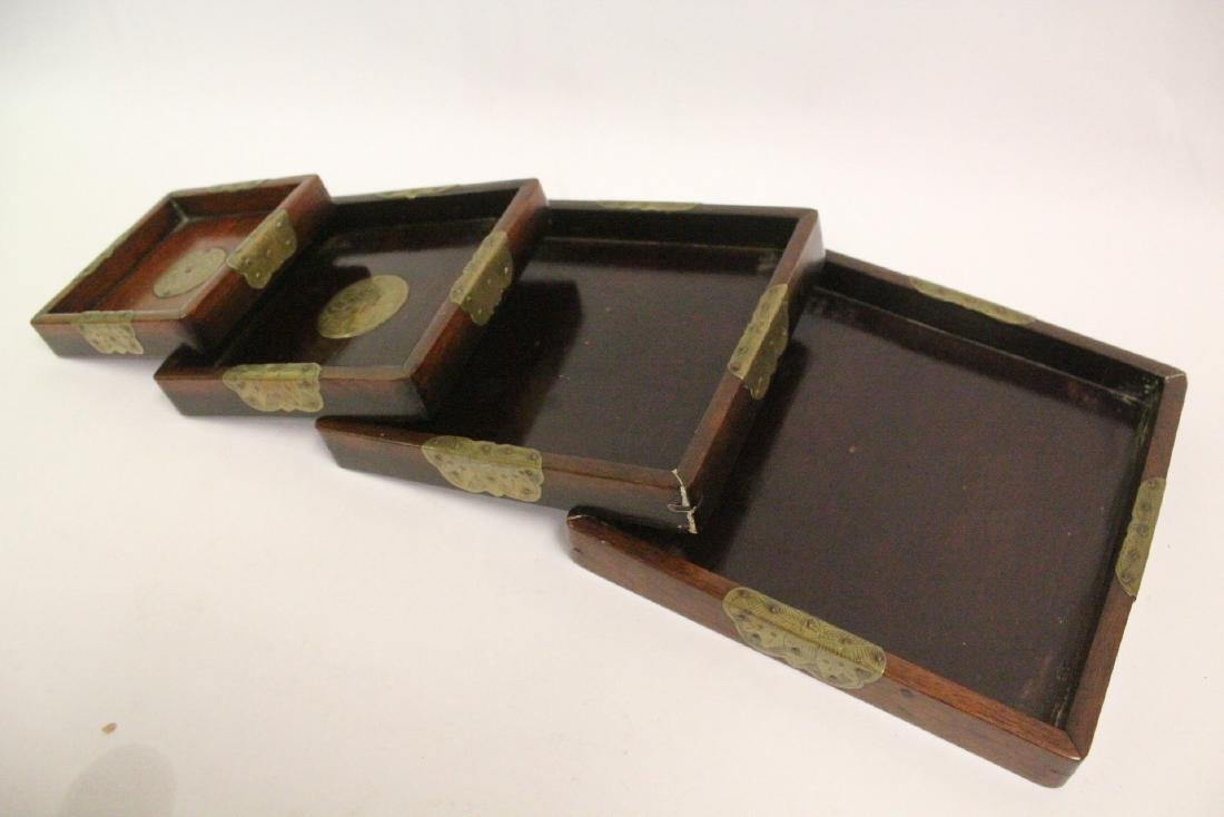 Set of 4 Chinese rosewood trays - 9