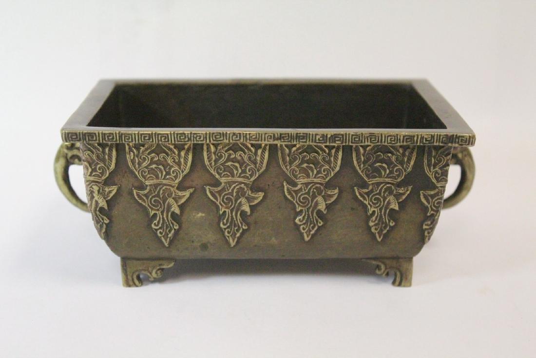 Chinese vintage bronze rectangular censer