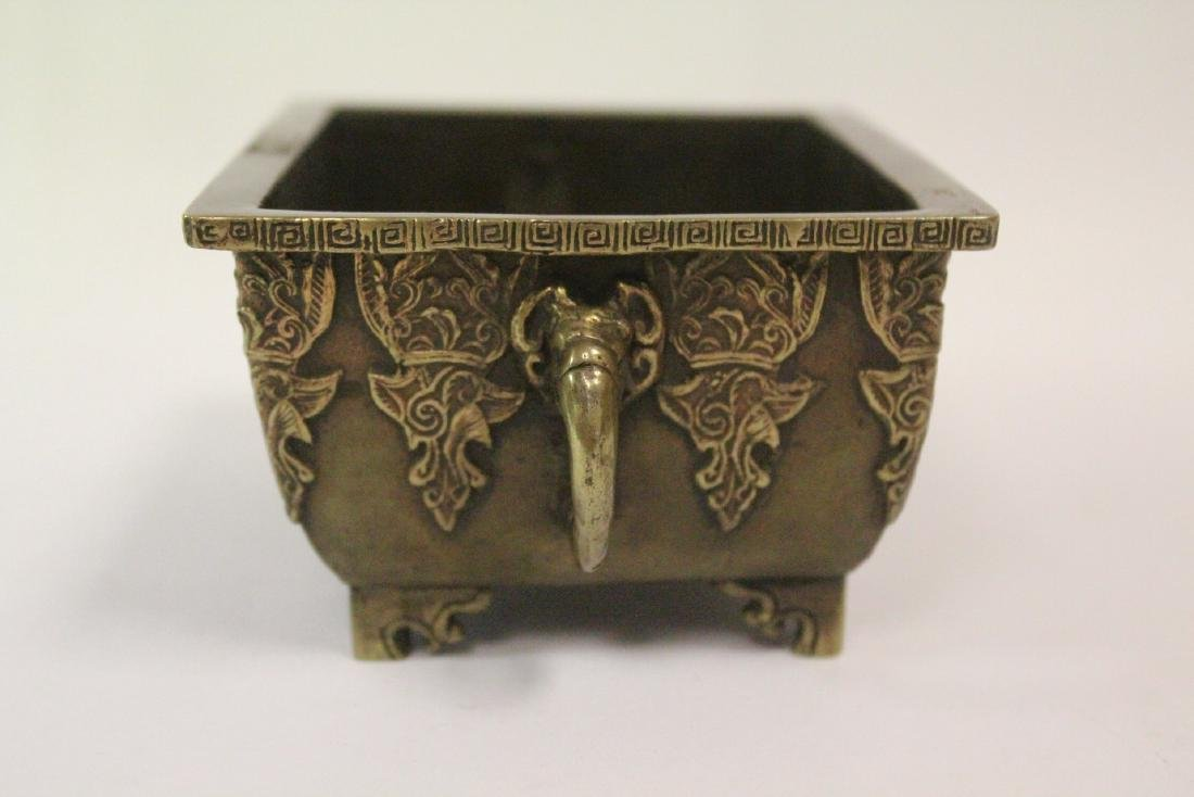 Chinese vintage bronze rectangular censer - 2