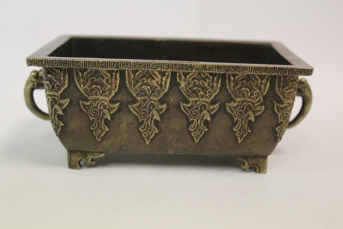 Chinese vintage bronze rectangular censer - 3