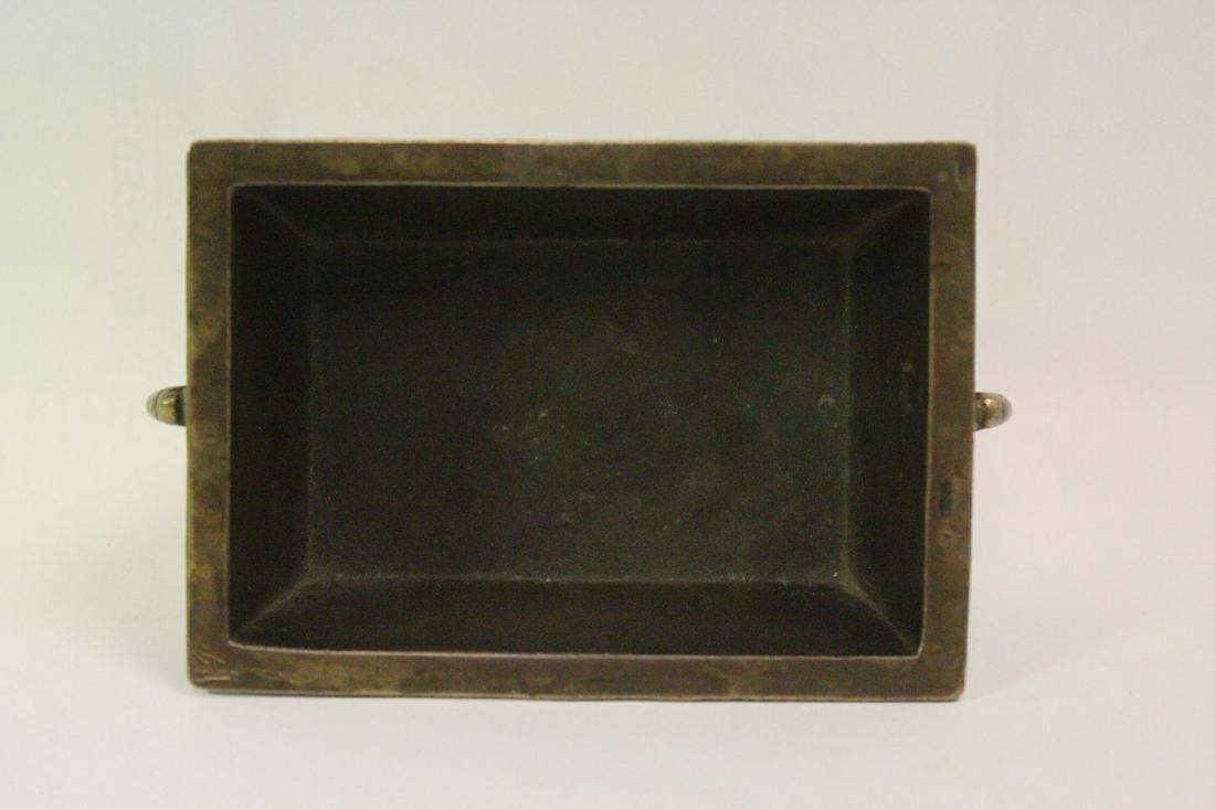 Chinese vintage bronze rectangular censer - 5