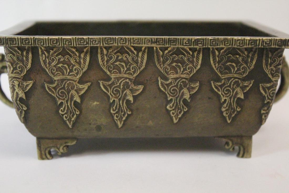 Chinese vintage bronze rectangular censer - 6