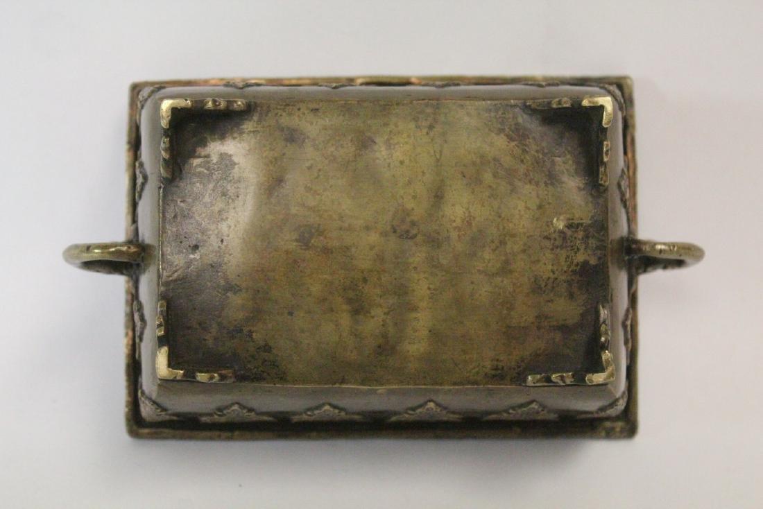 Chinese vintage bronze rectangular censer - 8