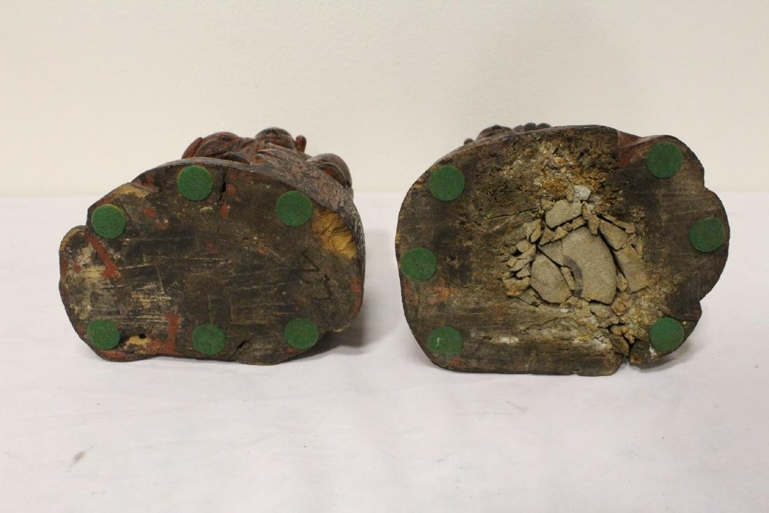 Pair Chinese antique lacquer figures - 10