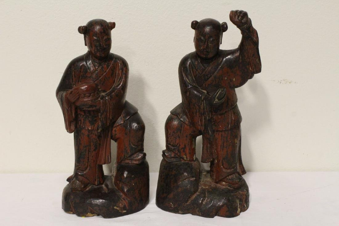 Pair Chinese antique lacquer figures