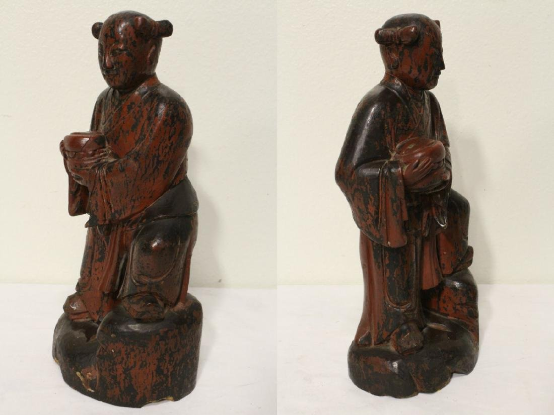 Pair Chinese antique lacquer figures - 3