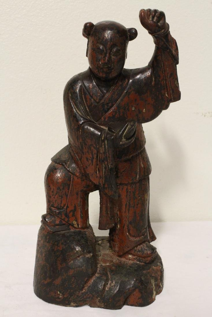 Pair Chinese antique lacquer figures - 6
