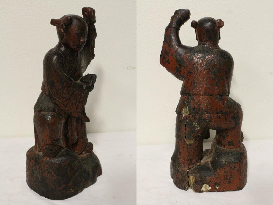 Pair Chinese antique lacquer figures - 8