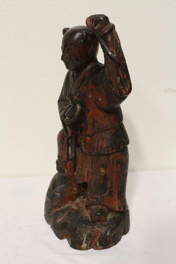 Pair Chinese antique lacquer figures - 9