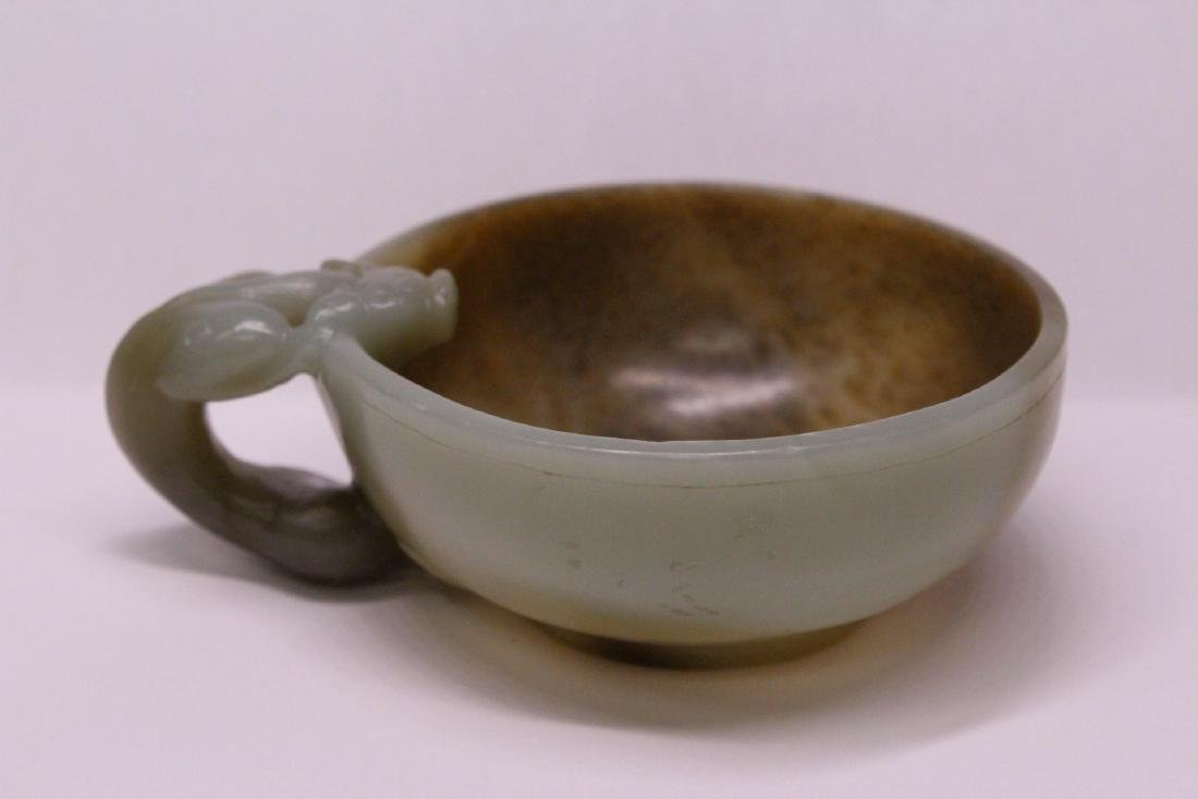 Chinese celadon and russet jade carved cup