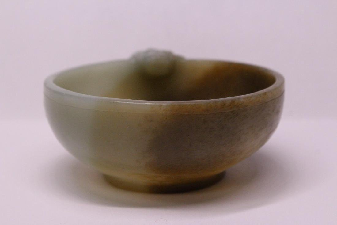 Chinese celadon and russet jade carved cup - 2