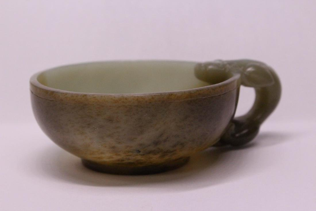 Chinese celadon and russet jade carved cup - 3