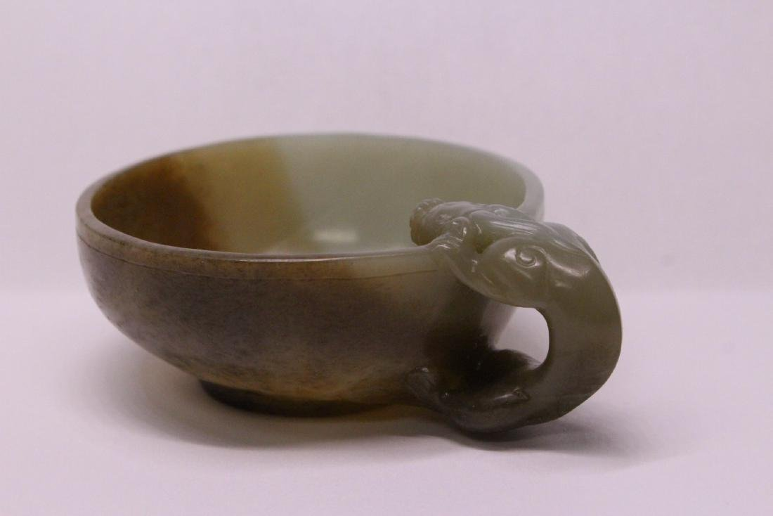 Chinese celadon and russet jade carved cup - 4
