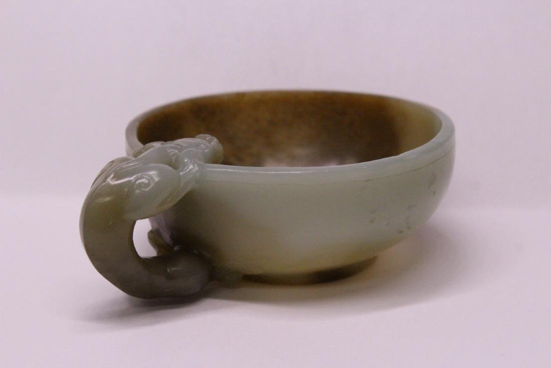 Chinese celadon and russet jade carved cup - 5