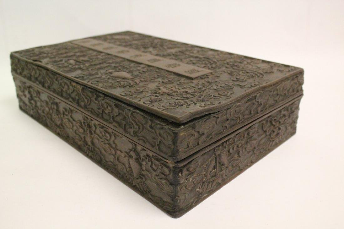 Chinese wood box carved with dragon - 10
