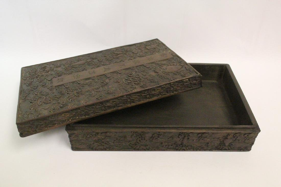 Chinese wood box carved with dragon