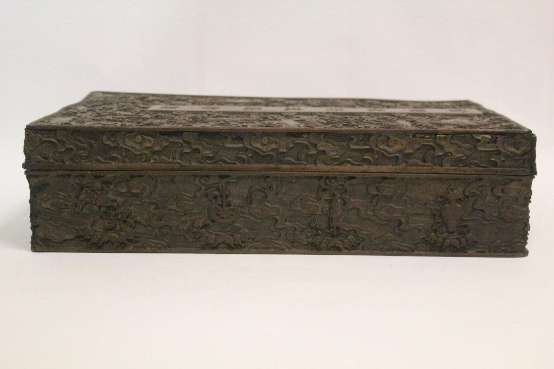 Chinese wood box carved with dragon - 3