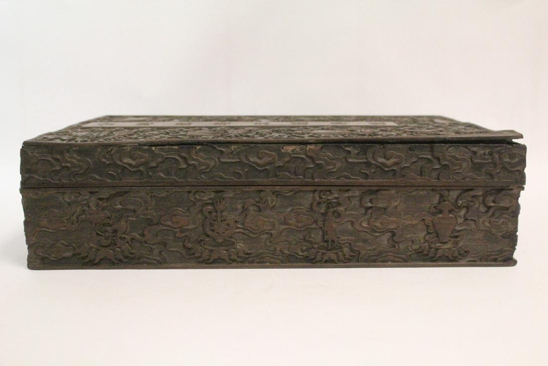 Chinese wood box carved with dragon - 5