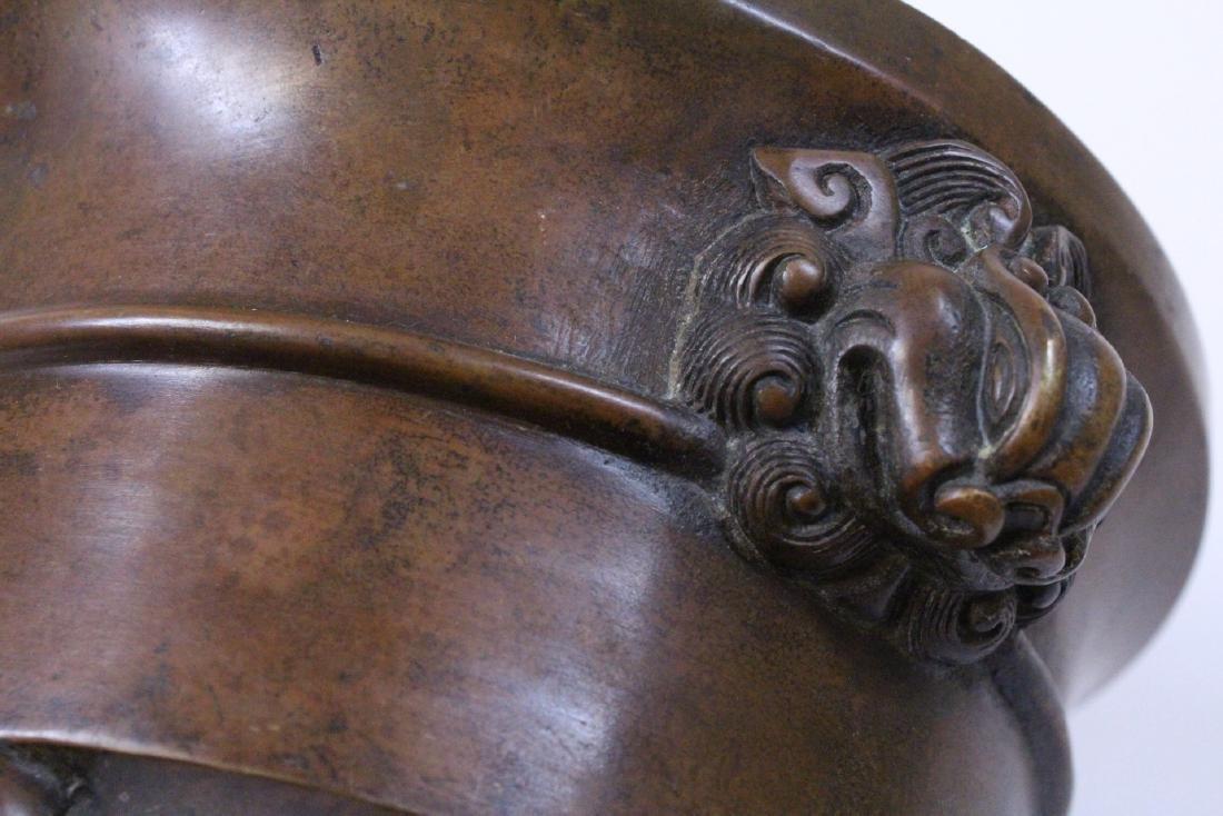 Chinese bronze tripod censer - 10