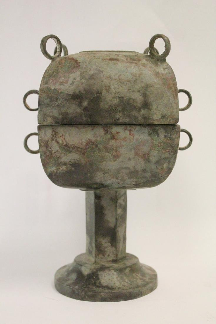 Chinese archaic style bronze covered food vessel