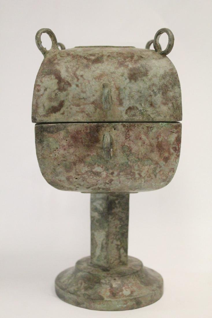 Chinese archaic style bronze covered food vessel - 3