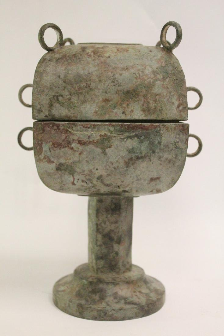 Chinese archaic style bronze covered food vessel - 5