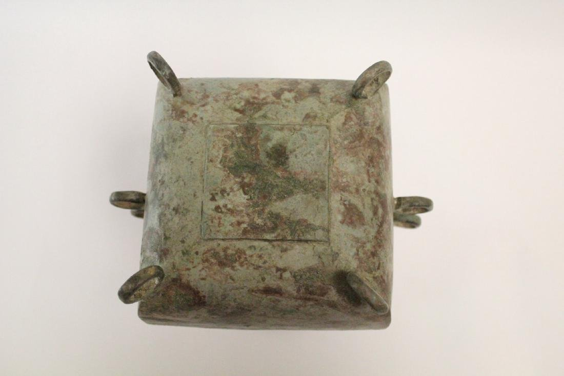 Chinese archaic style bronze covered food vessel - 8