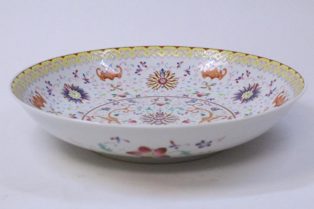 painted Chinese famille rose porcelain plate