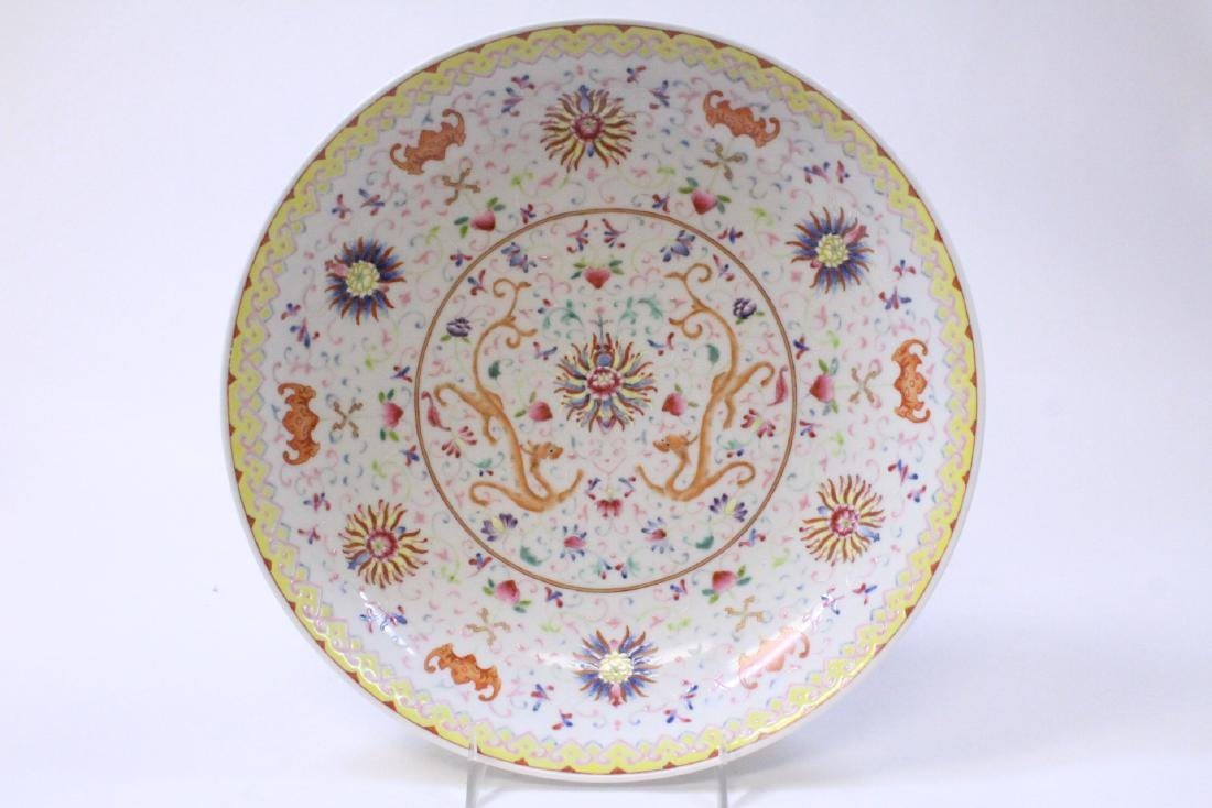 painted Chinese famille rose porcelain plate - 2