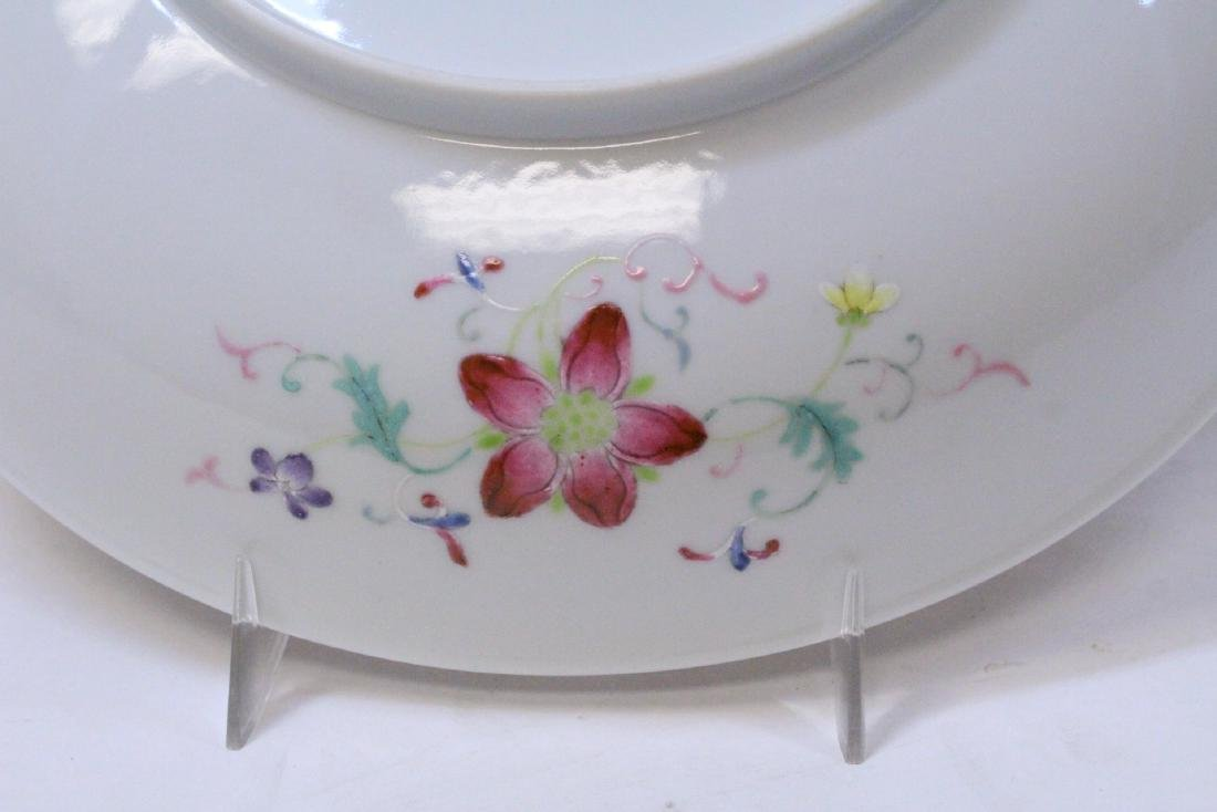painted Chinese famille rose porcelain plate - 3