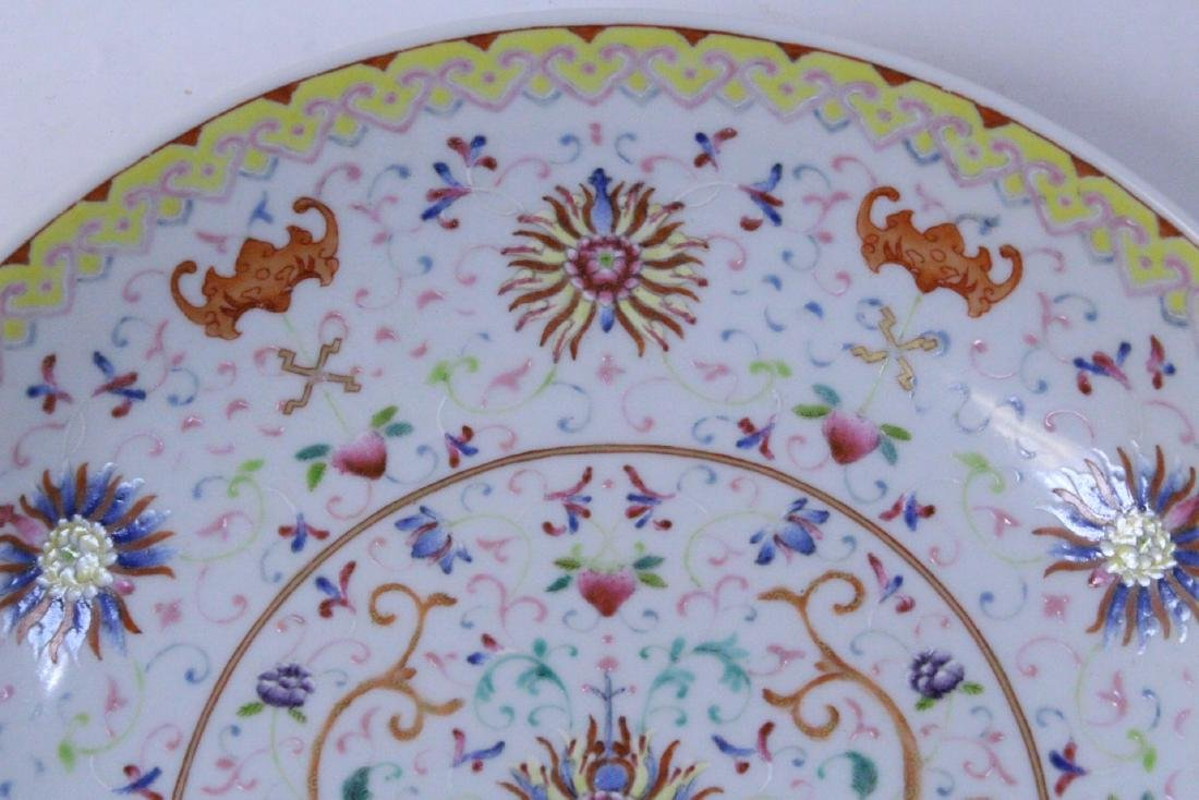 painted Chinese famille rose porcelain plate - 5