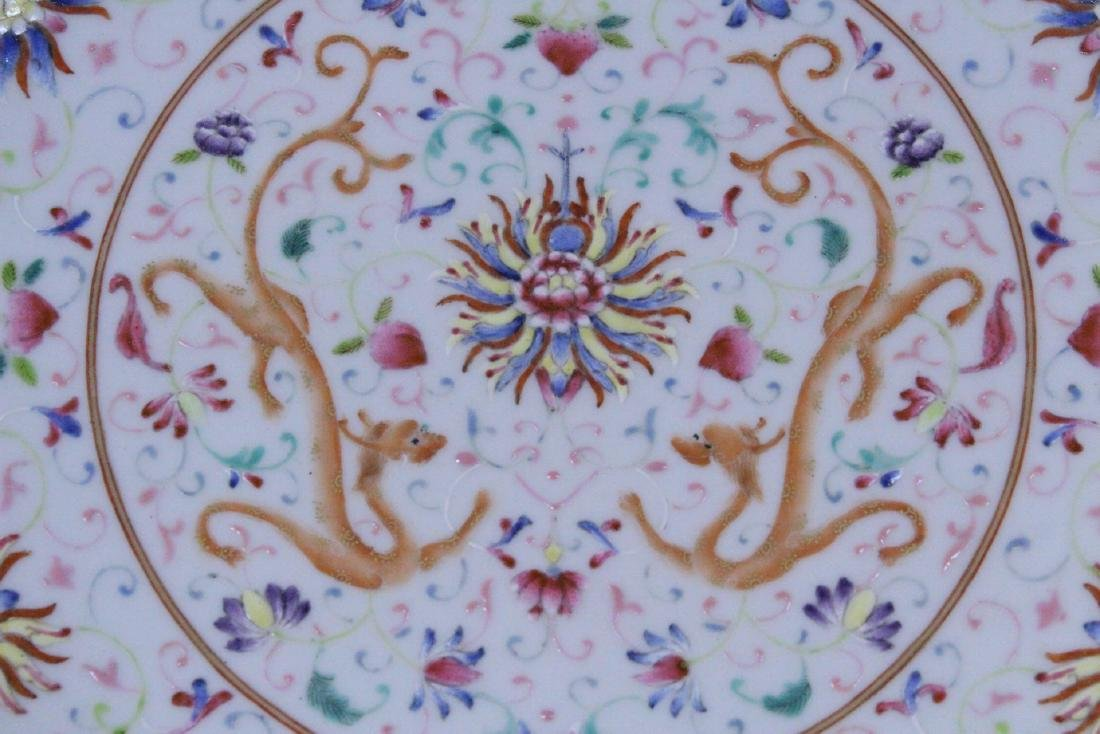 painted Chinese famille rose porcelain plate - 6