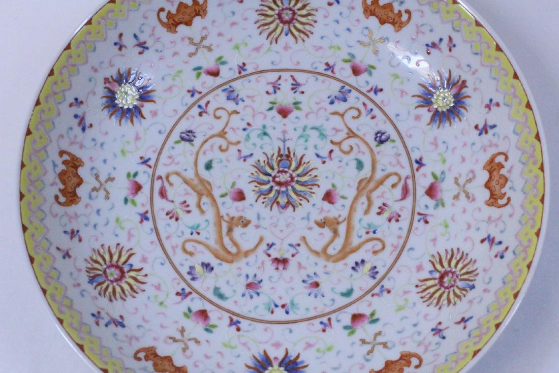 painted Chinese famille rose porcelain plate - 7