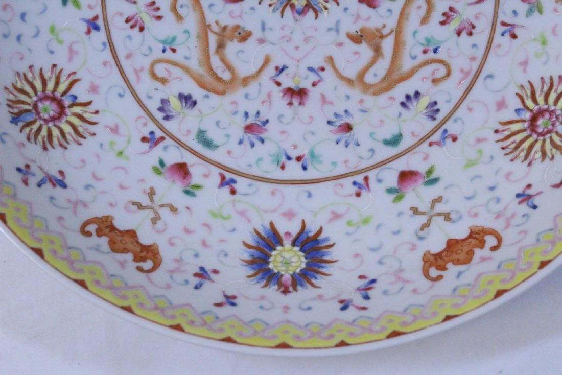 painted Chinese famille rose porcelain plate - 8