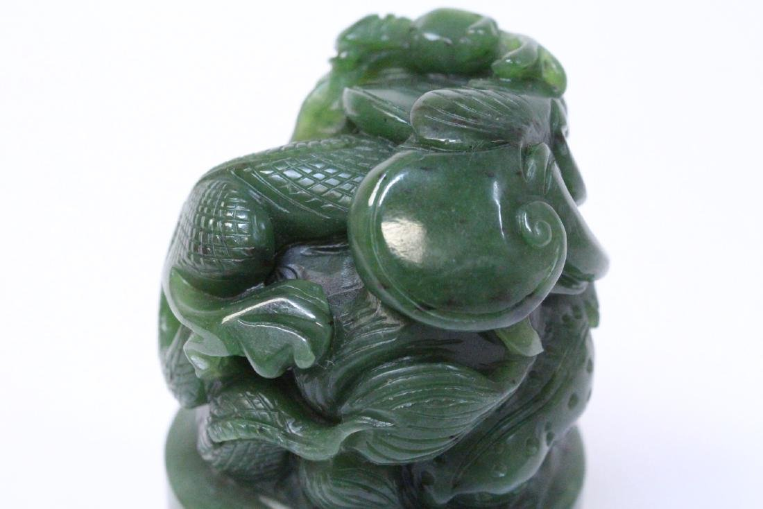 Chinese spinach jade carved seal - 10