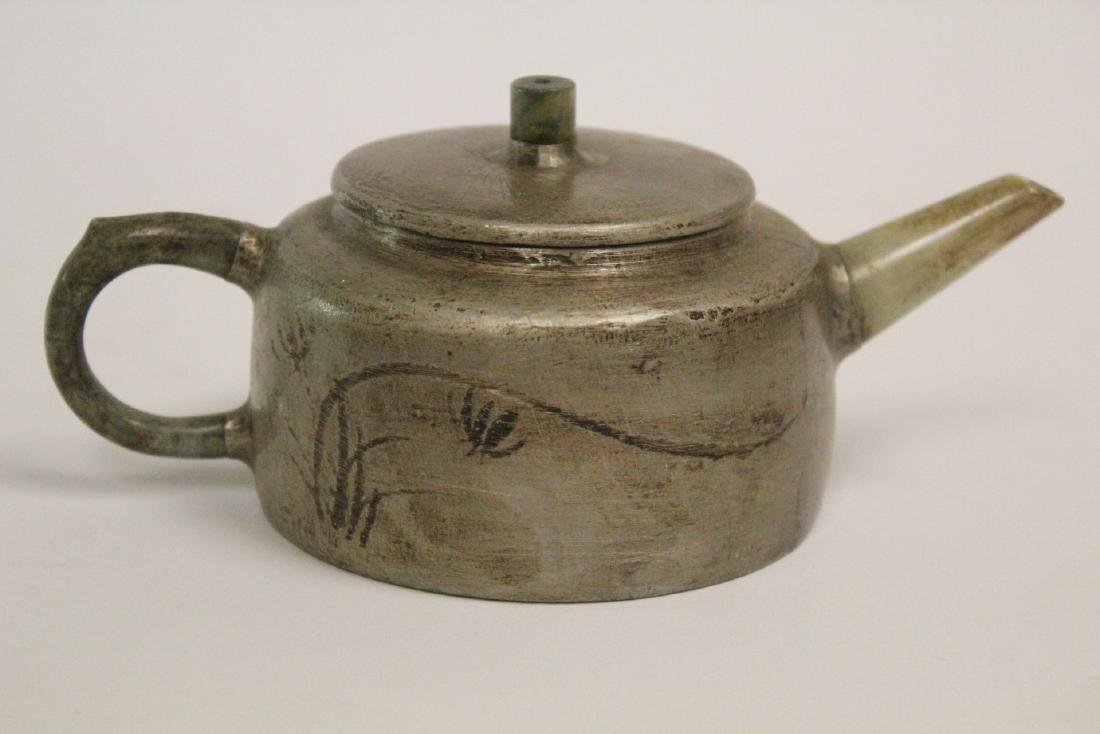 Chinese Yixing teapot with jade sprout - 3