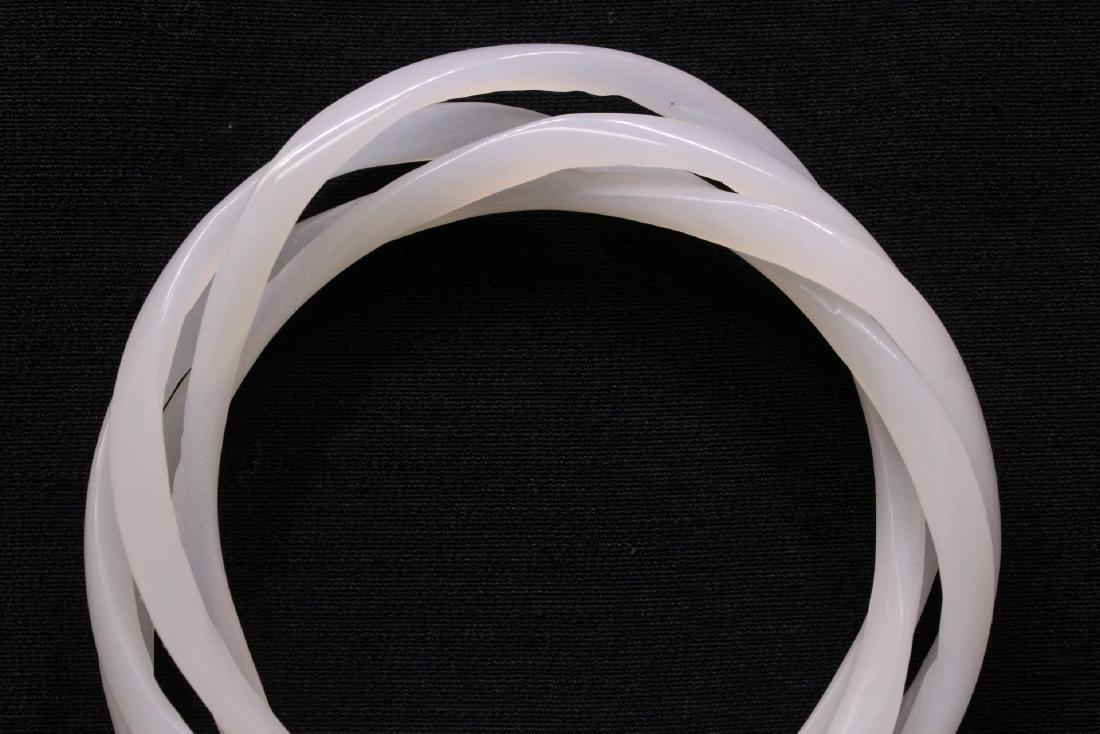Chinese white jade bangle bracelet - 2