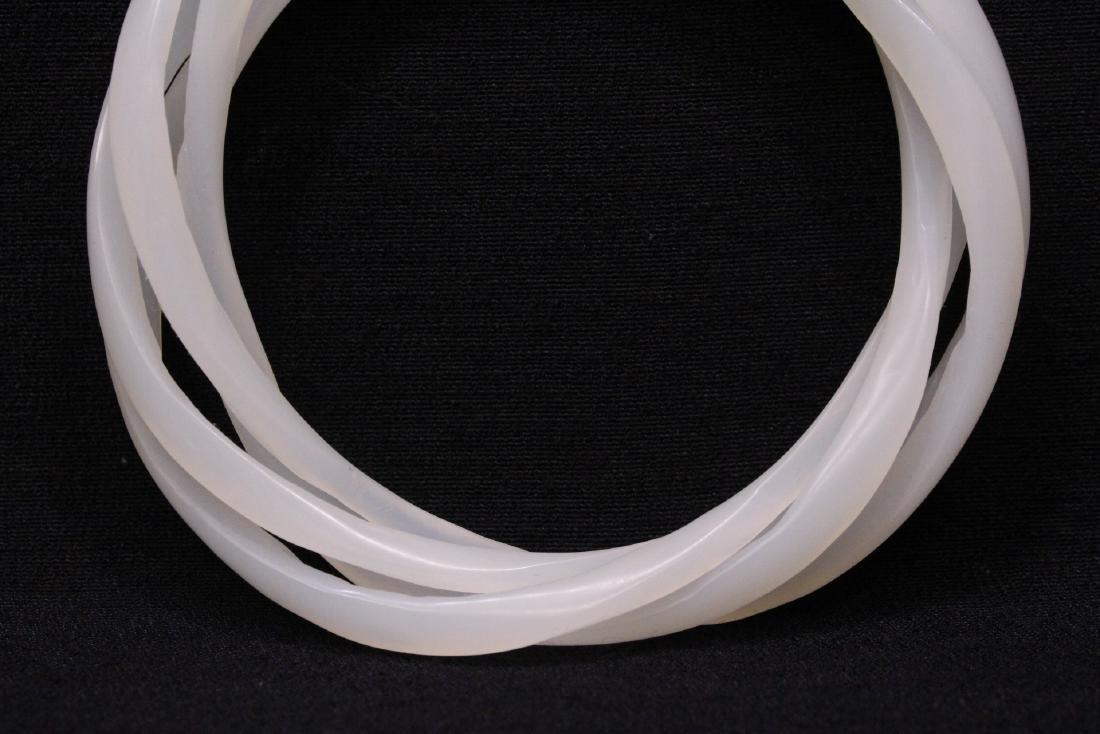 Chinese white jade bangle bracelet - 3