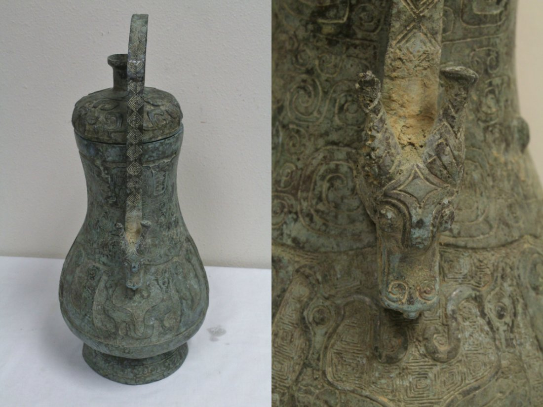 Chinese large bronze handled wine vessel - 5