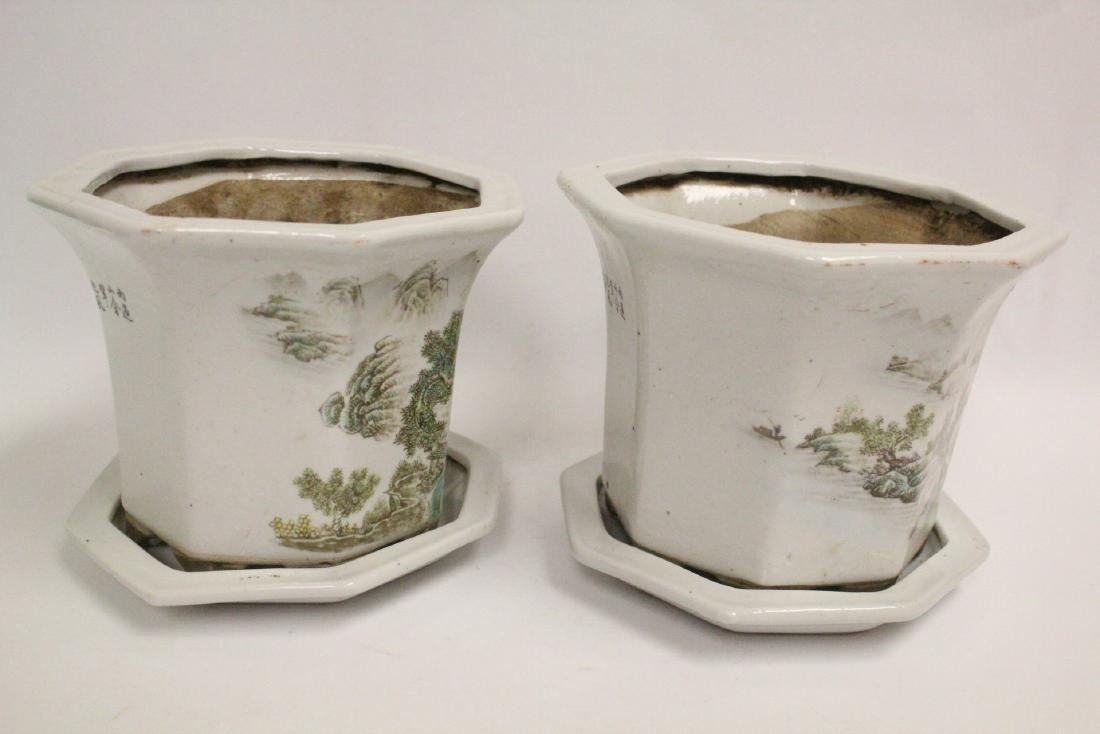Pair Chinese famille rose planter with under plate - 10