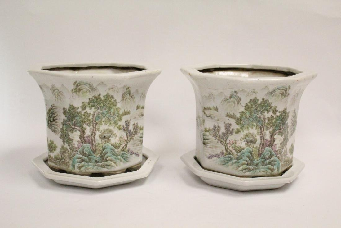 Pair Chinese famille rose planter with under plate