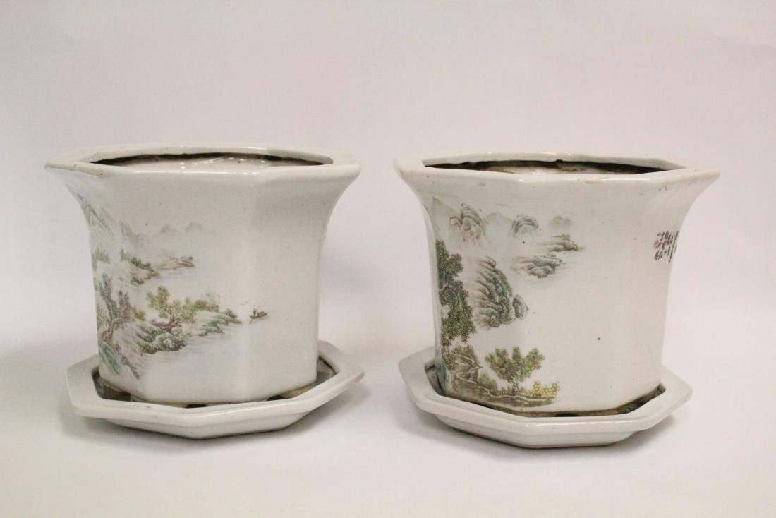 Pair Chinese famille rose planter with under plate - 2